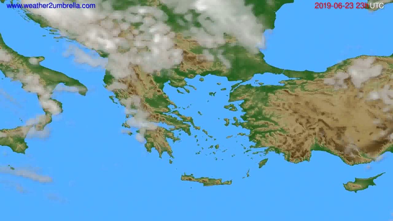 Cloud forecast Greece // modelrun: 12h UTC 2019-06-20