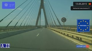 Ayamonte Spain  city photos gallery : Driving from Ayamonte (Spain) to Vila Real de Santo António (Portugal) 13.03.2015 Timelapse x4