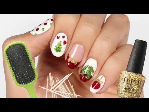 5 Christmas Nail Art Designs Using Household Items!