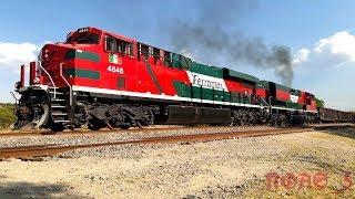 Que hay Raza aquí les dejo este vídeo de un metalero de Ferromex cargado rumbo al norte, en esta ocasión la locomotora líder fue una ES45AH la 4846 y en múltiple venía una SD70ACe la 4119 Orejona Ex Ferrosur y de remota venía otra SD70ACe la 4105, en esta ocasión a este metalero no se le pudieron meter las Ayudas de Lagos de Moreno y pues aquí en Pedrito comienza la pendiente y pues se tuvieron que seguir sin la ayuda de las Ayudas de Lagos, aquí se aprecia como le costó a las máquinas arrancarse y comenzar a subir la pendiente, les costo trabajo arrancarse pero no se rajaron, este tren lo grabe en la placa Kilométrica # 449 de la Línea A del Distrito de León en Pedrito, Jalisco. México NOAS_5 FerroNoas