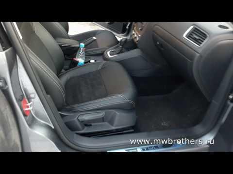 """Чехлы на Volkswagen Jetta 6, серии """"Alcantara"""" - серая строчка"""