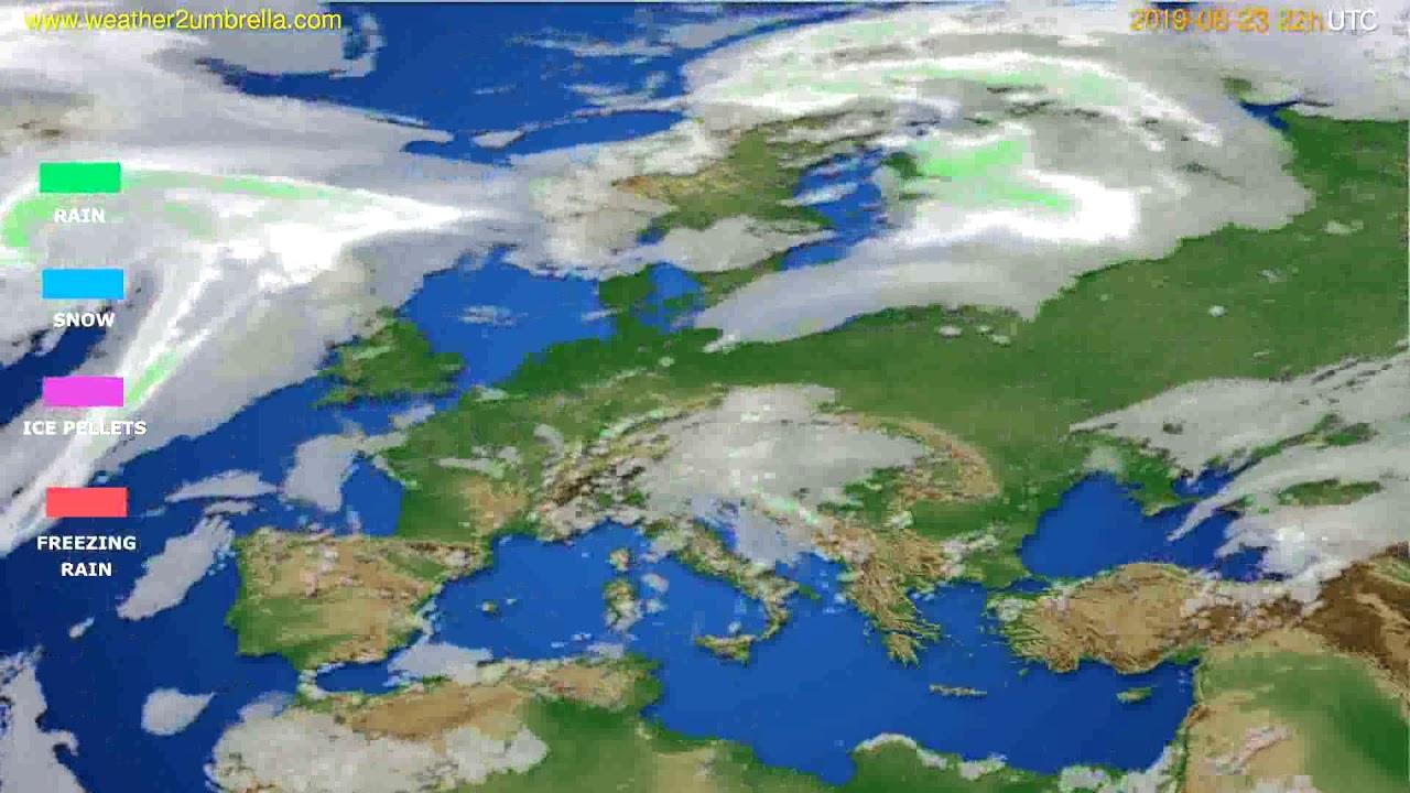 Precipitation forecast Europe // modelrun: 12h UTC 2019-08-21