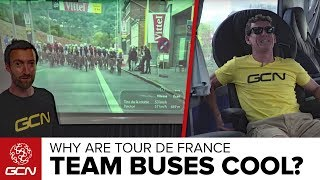 Dan and Matt take one another on to see who has the best reasons why team buses are cool.Subscribe to GCN: http://gcn.eu/SubscribeToGCNGet exclusive GCN gear in the GCN shop 🛒  http://gcn.eu/idLet us know why you think cycling team buses are cool in the comments below 👇Buses that the guys visit during the 2017 Tour de France include:Team SkyOrica-ScottTrek-SegafredoTeam SunwebDimension DataQuickstep floorsReasons why buses are cool include:Access to all the nutrition riders needDual showers!Electronic privacy glassMeeting roomsCoffee machinesKitchensSoundsystemsSwivelling captains chairsProjector and screenIf you'd like to contribute captions and video info in your language, here's the link 👍  http://gcn.eu/ieWatch more on GCN...6 Reasons Why Cycling Mechanics Team Trucks Are Cool  📹  http://gcn.eu/6RMTWhat Difference Do Motorbikes Make In Bike Races?  GCN Does Science 📹  http://gcn.eu/h4Music:Gravity's Shadow - Marc AdamoPhotos: © Bettiniphoto / http://www.bettiniphoto.net/ & ©Tim De Waele / http://www.tdwsport.comAbout GCN:The Global Cycling Network puts you in the centre of the action: from the iconic climbs of Alpe D'Huez and Mont Ventoux to the cobbles of Flanders, everywhere there is road or pavé, world-class racing and pro riders, we will be there bringing you action, analysis and unparalleled access every week, every month, and every year. We show you how to be a better cyclist with our bike maintenance videos, tips for improving your cycling, cycling top tens, and not forgetting the weekly GCN Show. Join us on YouTube's biggest and best cycling channel to get closer to the action and improve your riding!Welcome to the Global Cycling Network  Inside cyclingThanks to our sponsors:Alta Badia:http://gcn.eu/AltaBadia- // Maratona Dles Dolomites: http://gcn.eu/MaratonaDlesDolomites-Assos of Switzerland: http://gcn.eu/AssosKASK helmets: http://gcn.eu/KASKfi'zi:k shoes and saddles: http://gcn.eu/fizikshoes and http://gcn.eu/fiziksaddlesTopeak tools: http://gcn.eu/TopeakCanyon bikes: http://gcn.eu/-CanyonQuarq: http://gcn.eu/QuarqDT Swiss: http://gcn.eu/DtSwissScience in Sport: http://gcn.eu/SiSOrbea bikes: http://gcn.eu/OrbeaTrek Bicycles: http://gcn.eu/-TrekVision wheels: http://gcn.eu/VisionZipp wheels: http://gcn.eu/Zipppower2max: http://gcn.eu/power2maxWahoo Fitness: http://gcn.eu/Wahoo-Fitness Park Tool: http://gcn.eu/-parktoolContinental tyres: http://gcn.eu/continental-Camelbak: http://gcn.eu/camelbak-YouTube Channel - http://gcn.eu/gcnYTFacebook - http://gcn.eu/gcnFbGoogle+ - http://gcn.eu/gcnGPlusTwitter - http://gcn.eu/gcnTWLeave us a comment below!
