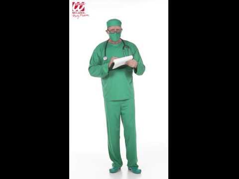 Déguisement de chirurgien avec pantalon, blouse et masque