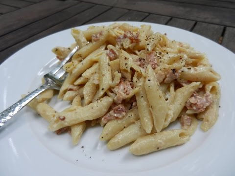 Penne Pasta With A Creamy Bacon Sauce - Easy Pasta Recipe