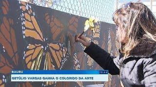 Muros de avenida de Bauru ganham vida com trabalho de artista plástica