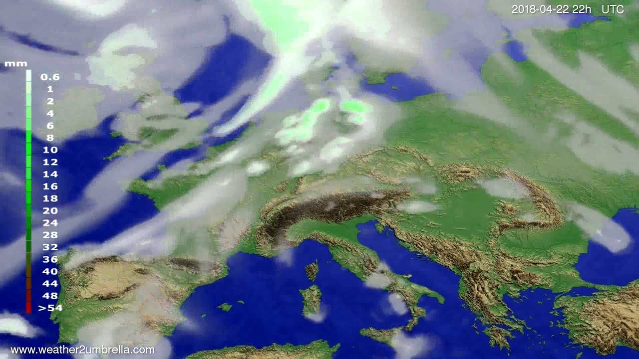 Precipitation forecast Europe 2018-04-20