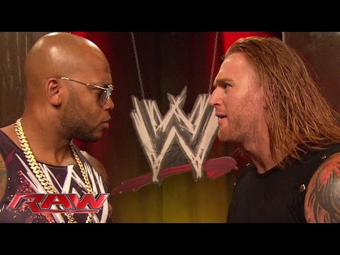 raw - Flo Rida gets up close and personal with Heath Slater backstage at Raw.