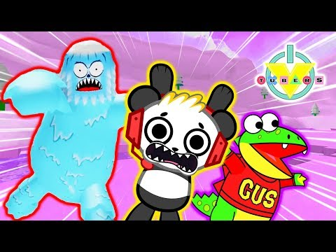 ESCAPE ANGRY YETI ! Roblox Snowball Fight Sim Let's Play with Combo Panda Vs Gus