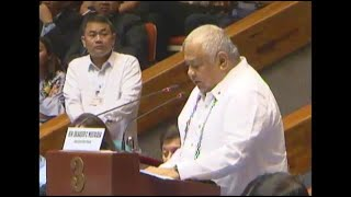 Executive Secretary Salvador Medialdea takes center stage when he delivers the justification of the extension of martial law in Mindanao, not just to quell rebellion and terrorism, but to likewise rehabilitate Marawi City and other areas affected by the war. He says that the extended martial law will also address the problems of people displaced by the conflict in the south. Video from House of Representatives