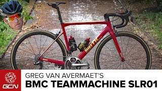 Tom Last checks out the BMC Teammachine SLR01 of Rio 2016 Gold Medallist and classics specialist Greg Van Avermaet of BMC Racing Team . Subscribe to GCN: http://gcn.eu/SubscribeToGCNGet exclusive GCN gear in the GCN shop! http://gcn.eu/i2Let us know what you think of this customised bike in the comments below 👇Frame and forks: BMC Teammachine SLR01Wheels: Shimano Dura-Ace c40Tyres: Vittoria Corsa Handlebars: 3T round dropStem: BMCSeatpost: Saddle: Fizik Antares 00 Shifters: Shimano Dura-Ace Di2 9150Brakes: Shimano Dura-Ace 9100 direct mountFront Mech: Shimano Dura-Ace Di2 9150Rear Mech: Shimano Dura-Ace Di2 9150Chainset: Shimano Dura-Ace 9000Pedals: Shimano Dura-AceChainring size: 39/53Powermeter: SRM PC8Cassette: Shimano Dura-Ace 9100 11/30Bike weight: 7.3kgSaddle height: 77cmReach: 60cmBar width: 44cmStem length: 14cmCrank length: 172.5mmTyre width: 25mm, rear measures 24.69, front measures 24.26Finishing touches: Elite BottleCages, Gold finishing touches, sprint shifters, gold cable end caps, If you'd like to contribute captions and video info in your language, here's the link 👍  http://gcn.eu/i3Watch more on GCN...Tour de France 2017 📹  http://gcn.eu/TDF2017PlaylistGCN's Pro Bikes – Every Pro Bike Video On GCN Ever... 📹  http://gcn.eu/everygcnprobikePhotos: © Bettiniphoto / http://www.bettiniphoto.net/ & ©Tim De Waele / http://www.tdwsport.comAbout GCN:The Global Cycling Network puts you in the centre of the action: from the iconic climbs of Alpe D'Huez and Mont Ventoux to the cobbles of Flanders, everywhere there is road or pavé, world-class racing and pro riders, we will be there bringing you action, analysis and unparalleled access every week, every month, and every year. We show you how to be a better cyclist with our bike maintenance videos, tips for improving your cycling, cycling top tens, and not forgetting the weekly GCN Show. Join us on YouTube's biggest and best cycling channel to get closer to the action and improve your riding!Welcome to the Global Cycling Network  Inside cyclingThanks to our sponsors:Alta Badia:http://gcn.eu/AltaBadia- // Maratona Dles Dolomites: http://gcn.eu/MaratonaDlesDolomites-Assos of Switzerland: http://gcn.eu/AssosKASK helmets: http://gcn.eu/KASKfi'zi:k shoes and saddles: http://gcn.eu/fizikshoes and http://gcn.eu/fiziksaddlesTopeak tools: http://gcn.eu/TopeakCanyon bikes: http://gcn.eu/-CanyonQuarq: http://gcn.eu/QuarqDT Swiss: http://gcn.eu/DtSwissScience in Sport: http://gcn.eu/SiSOrbea bikes: http://gcn.eu/OrbeaTrek Bicycles: http://gcn.eu/-TrekVision wheels: http://gcn.eu/VisionZipp wheels: http://gcn.eu/Zipppower2max: http://gcn.eu/power2maxWahoo Fitness: http://gcn.eu/Wahoo-Fitness Park Tool: http://gcn.eu/-parktoolContinental tyres: http://gcn.eu/continental-Camelbak: http://gcn.eu/camelbak-YouTube Channel - http://gcn.eu/gcnYTFacebook - http://gcn.eu/gcnFbGoogle+ - http://gcn.eu/gcnGPlusTwitter - http://gcn.eu/gcnTWLeave us a comment below!