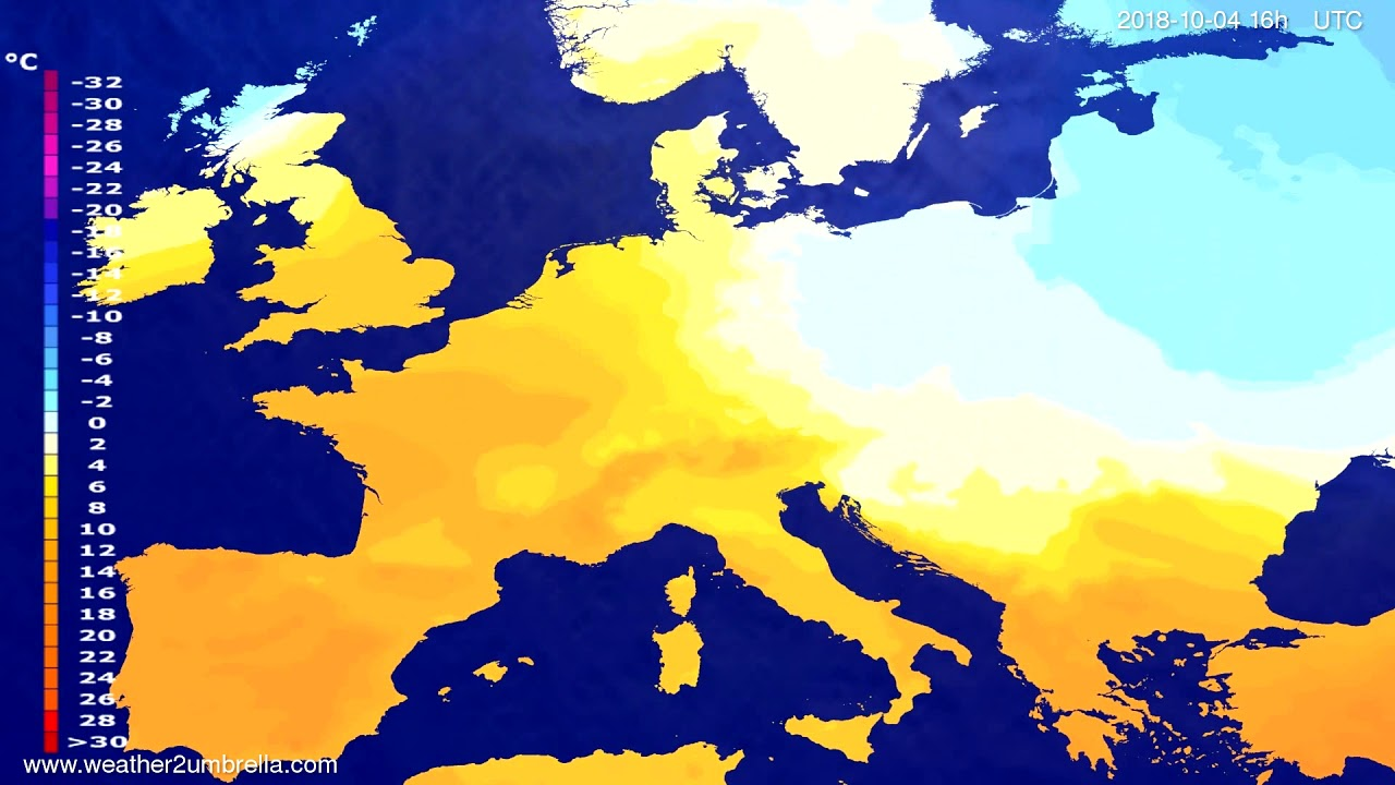 Temperature forecast Europe 2018-09-30