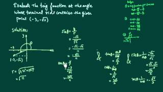 Learn how to find trig values (sin, cos, tan, etc.) when given a point on the terminal side of an angle