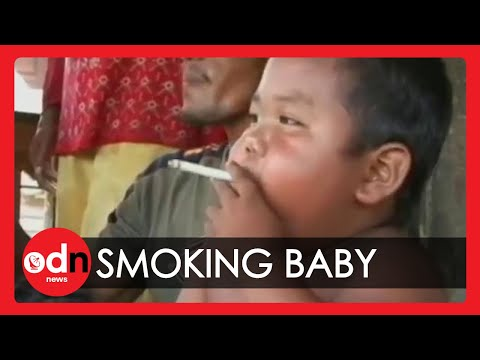 40 - Subscribe to ITN News: http://bit.ly/itnytsub A toddler in Sumatra is hooked on nicotine after being introduced to cigarettes by his father. Ardi, who is rar...