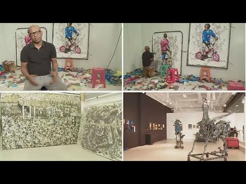 South African-born Mbongeni Buthelezi uses waste to create rare art form