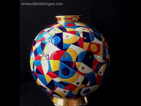 EMAUX LECLERCQ LONGWY  - Vase boule colorissima - Création C. LECLERCQ Meilleur Ouvrier de France
