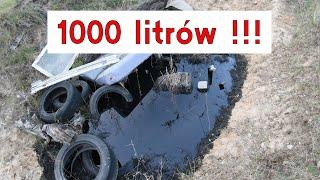 Śmieciarz wylewa 1000 litrów przepalonego oleju silnikowego