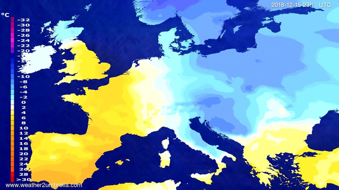 Temperature forecast Europe 2018-12-12