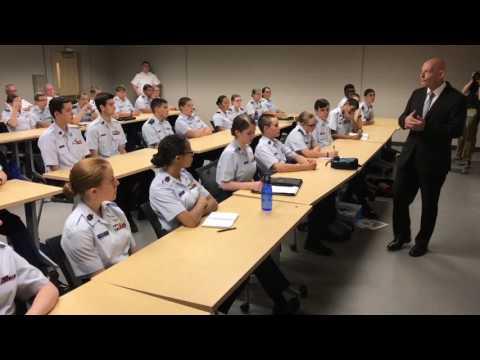 MTSU's General Huber talks with Civil Air Patrol cadets