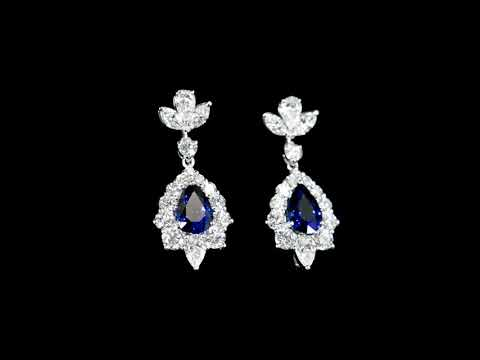 Lady's 18k White Gold 2.7ct (TW) Blue Sapphire and Diamond Earrings