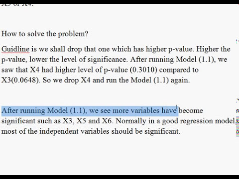 Multicollinearity and Regression. Model One. Part 1 of 3. EVIEWS