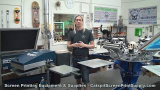 http://CatspitScreenPrintSupply.com/This is another spontaneous and candid screenprinting tutorial video about water based inks for textile printing. In this episode I discuss my thoughts on heat setting water based inks with only a standard infrared flash cure unit. As you know a forced air flash cure or belt dryer is most ideal for working with water based inks. But sometimes people just starting out only have a standard infrared panel flash cure or even belt dryer. So how can we heat set water based textile inks without that forced air equipment? Watch this video and listen to my detailed explanation as we discuss curing of plastisol inks compared to that of water based inks and why forced air is best for water based inks. This video is a standalone video for those of you who ask this question often. It may have been addressed in a previous video to some degree but this should really help you understand what you need to do with water based inks and standard infrared panel machinery. I hope it makes sense as I always do my videos unscripted and from the top of my head with all my experience. Enjoy and learn something about screenprinting tee shirts!Don't forget I offer FREE SHIPPING on screen printing equipment anywhere in the continental US and all crating or boxing fees are included in the pricing! PLUS no sales tax except in California. Enjoy the video and thanks for watching!http://catspitscreenprintsupply.com/screen-printing-equipment/ See what screen printing supplies we have ready in Phoenix for pick up: http://catspitscreenprintsupply.com/phoenix-screen-printing-supplies-store/Screen printing equipment and supplies store, Phoenix Arizona. Come in for a visit!480-899-9089http://catspitscreenprintsupply.com/Please Subscribe!http://www.youtube.com/user/CatspitProductionsVideo Uploads:http://www.youtube.com/user/CatspitProductions/videos?view=0Video Playlists:http://www.youtube.com/user/CatspitProductions/videos?flow=grid&view=1Screen Printing Tutorial Website