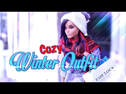 DIY - How to Make: Cozy Winter Outfit - Sweat Shirt - Sweat Pants - Scarf - Doll Craft - 4K