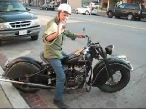 1947 Indian motorcycle startup and ride off (Alec MacKaye)