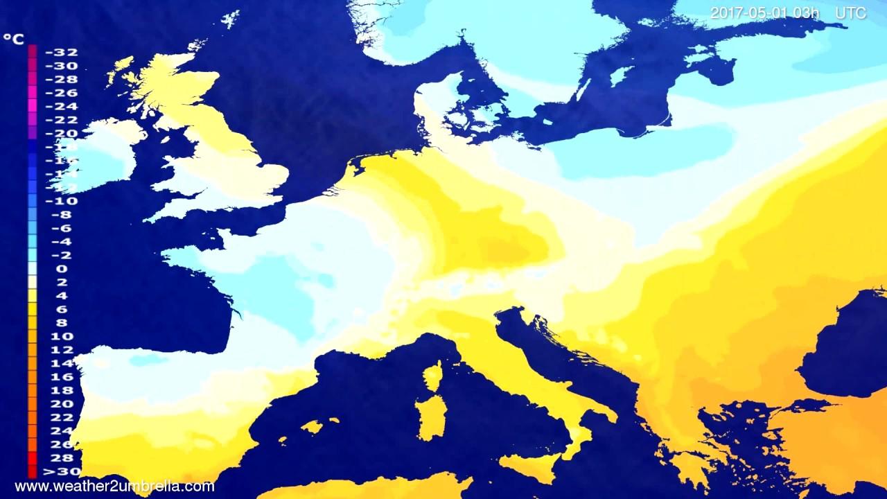 Temperature forecast Europe 2017-04-28