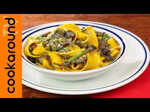 pappardelle con carciofi, asparagi e piselli - ricetta
