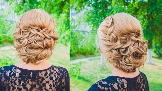 прическа с двумя косами и цветами