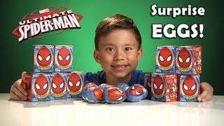 Opening SPIDER-MAN Choco Treasures Surprise EGGS!