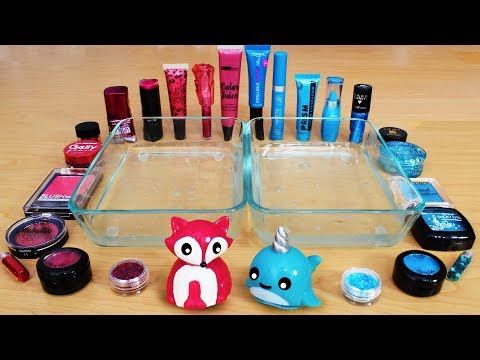Rose Vs Blue - Mixing Makeup Eyeshadow Into Slime! Special Series 87 Satisfying Slime Video