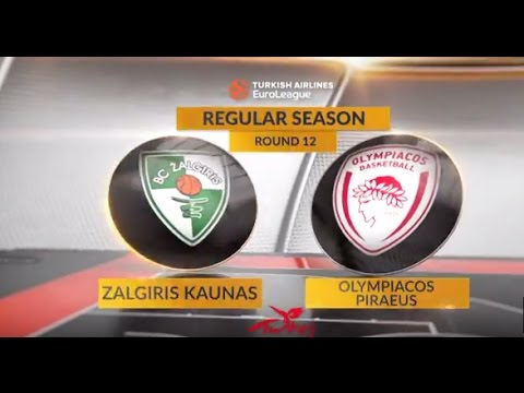 EuroLeague Highlights RS Round 12: Zalgiris Kaunas 75-88 Olympiacos Piraeus