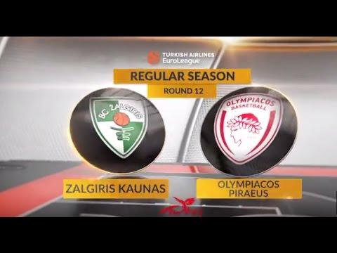 EuroLeague Highlights RS Round 12: Zalgiris Kaunas 75-88 Olympiacos Piraeus