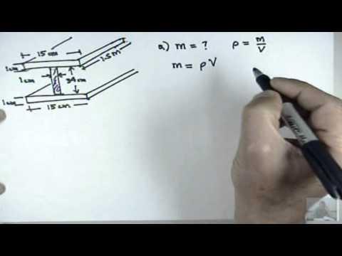 Cálculo Estructural - En este problema se brinda las dimensiones de una viga estructural, y su densidad , se pregunta la masa de la viga y el número de átomos de hierro que la com...