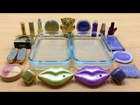 PURPLE Vs GOLD | Mixing Makeup Eyeshadow Into Clear Slime! Special Series #52 Satisfying Slime Video