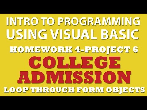 VB.net College Admission App (pp4-6) With TypeOf, For Each Loops, If Statements