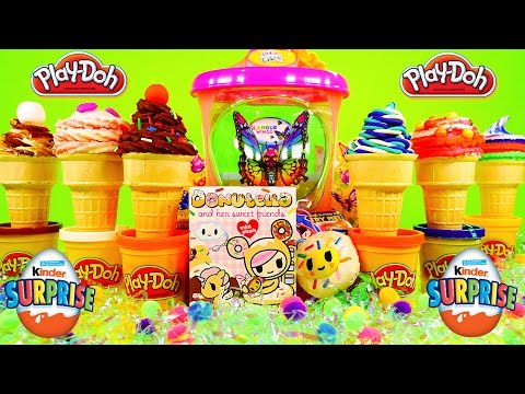 Play Doh Ice Cream Surprise Toys Kinder Eggs Donutella Live Pets Butterfly Playdough Creations