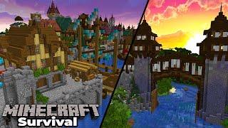 Minecraft 1.15 Survival : Medieval River Gatehouse & STARTING the Dry Docks