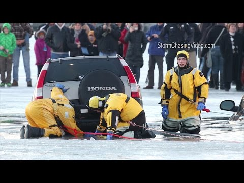 Cars Fall Through Lake During Winterfest