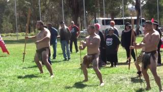 Maori War Dance at Australian Parliament to protest the mandatory detention of New Zealand citizens in Australia under changes to immigration regualtions.