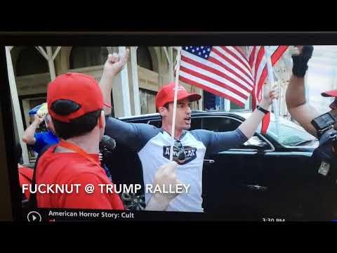 Bigot lawyer Aaron Schlossberg chanting USA @ Trump Ralley