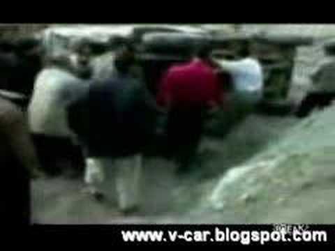 Flipping car