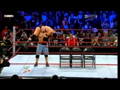 John Cena Attitude Adjustment to Wade Barrett on Six Chairs