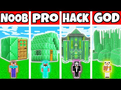 Minecraft: EMERALD HOUSE BUILD CHALLENGE - NOOB vs PRO vs HACKER vs GOD in Minecraft