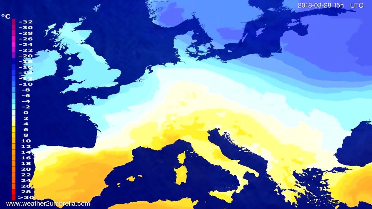 Temperature forecast Europe 2018-03-25