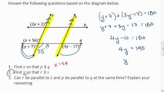 Geometry 3.3 (4 of 4) Proving Parallel Lines, Solving for x an...