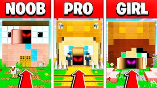 NOOB vs PRO vs GIRL FRIEND MINECRAFT SECRET HOUSE BUILD BATTLE CHALLENGE!