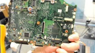 HPReflow.com Toshiba A135 Laptop Motherboard Repair With Water Damage And Corrosin